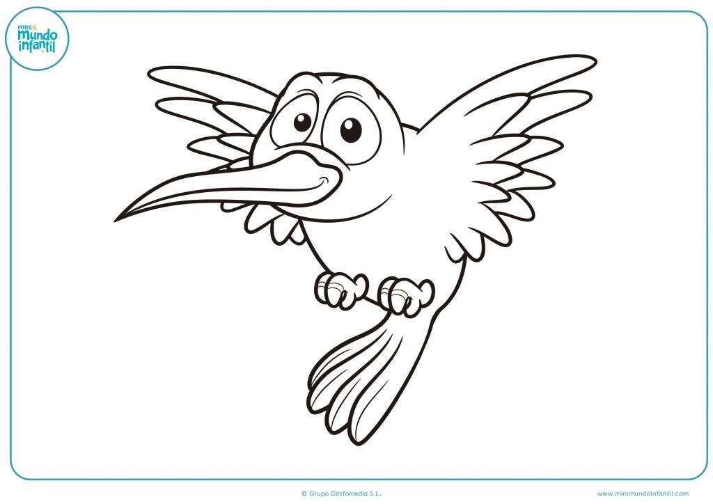 Pinta con colores el pájaro feliz para completar el dibujo