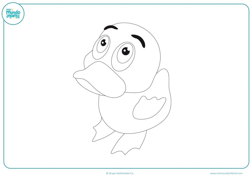 Dibujo para niños de un Pato de goma para colorear