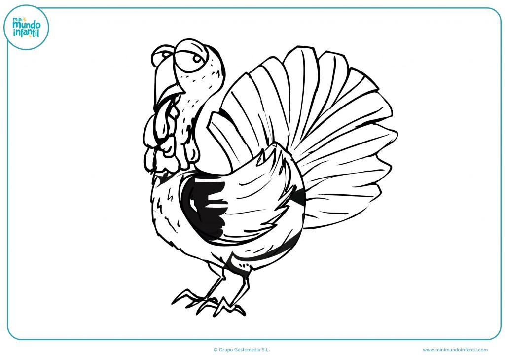 Ilustración para colorear de un pavo con manchas negras