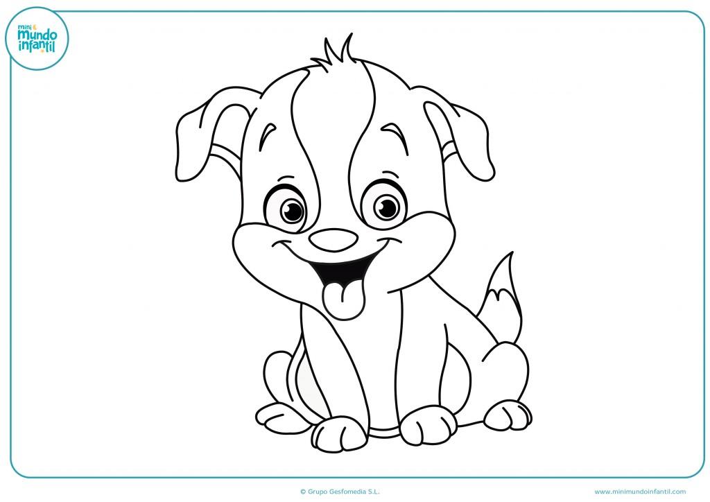 Dibujo infantil de un perro cachorro para colorearlo