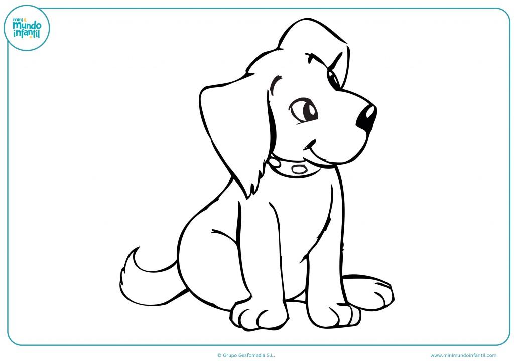 Imagen de un perro para colorear y terminar el dibujo
