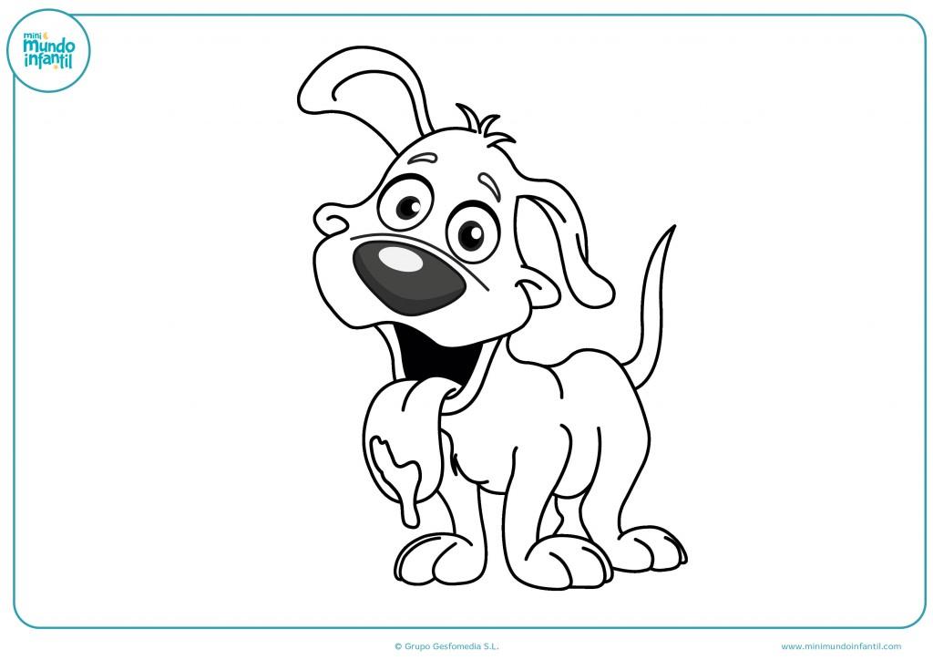 Mira tus colores y pinta para terminar el dibujo del perro