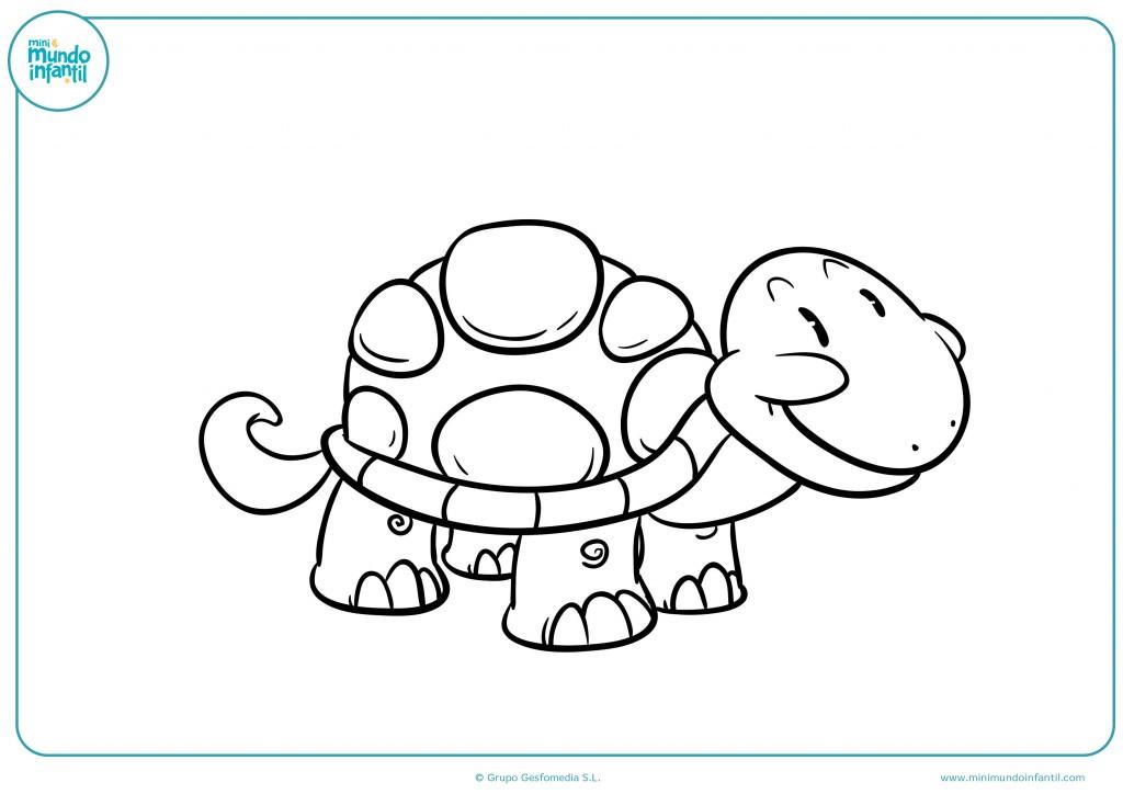 Dibujo de una tortuga animada para niños infantiles