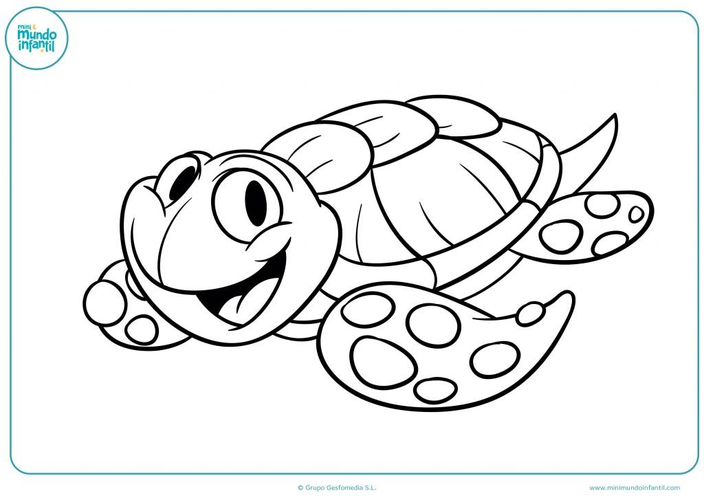 Pinta la tortuga de agua con tus colores favoritos