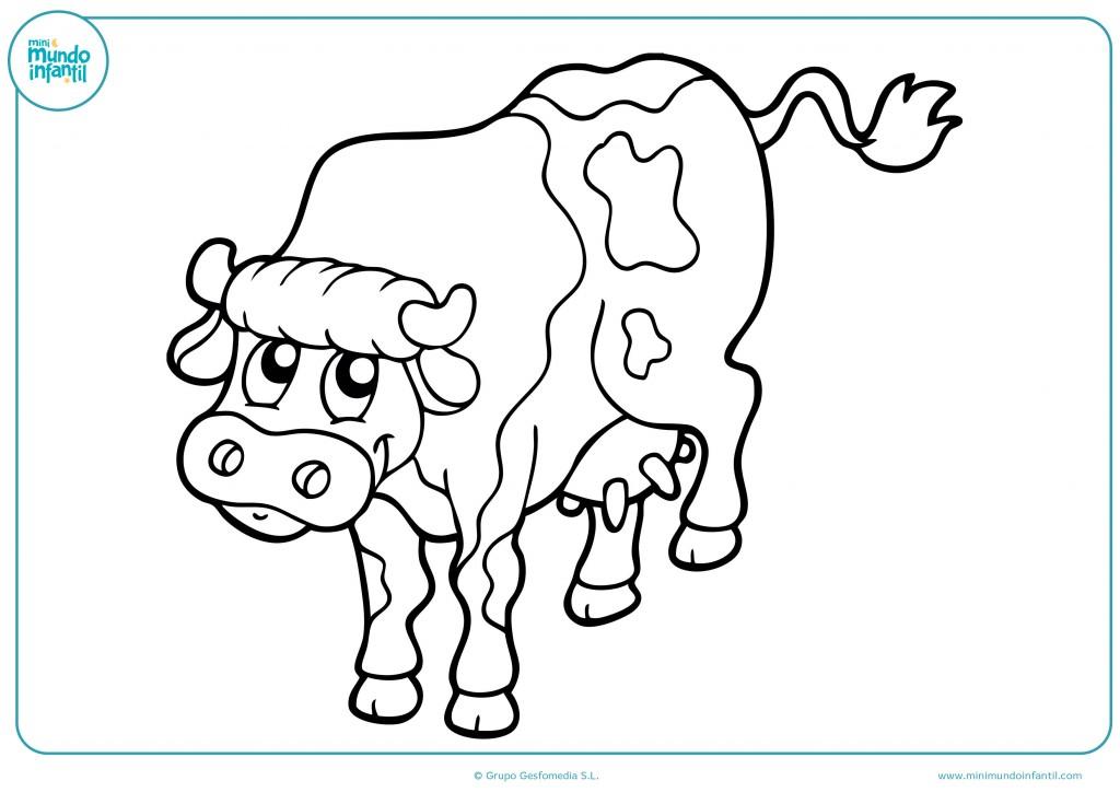 Colorea la vaca con manchas y termina el dibujo infantil