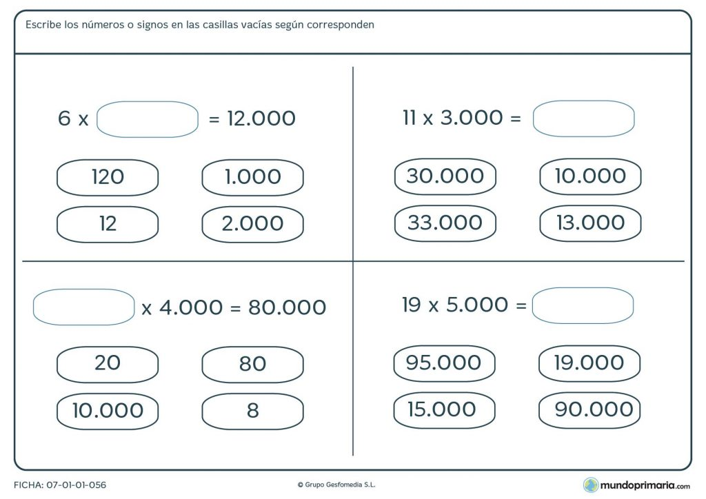 Soluciona estas multiplicaciones horizontales para 5º curso