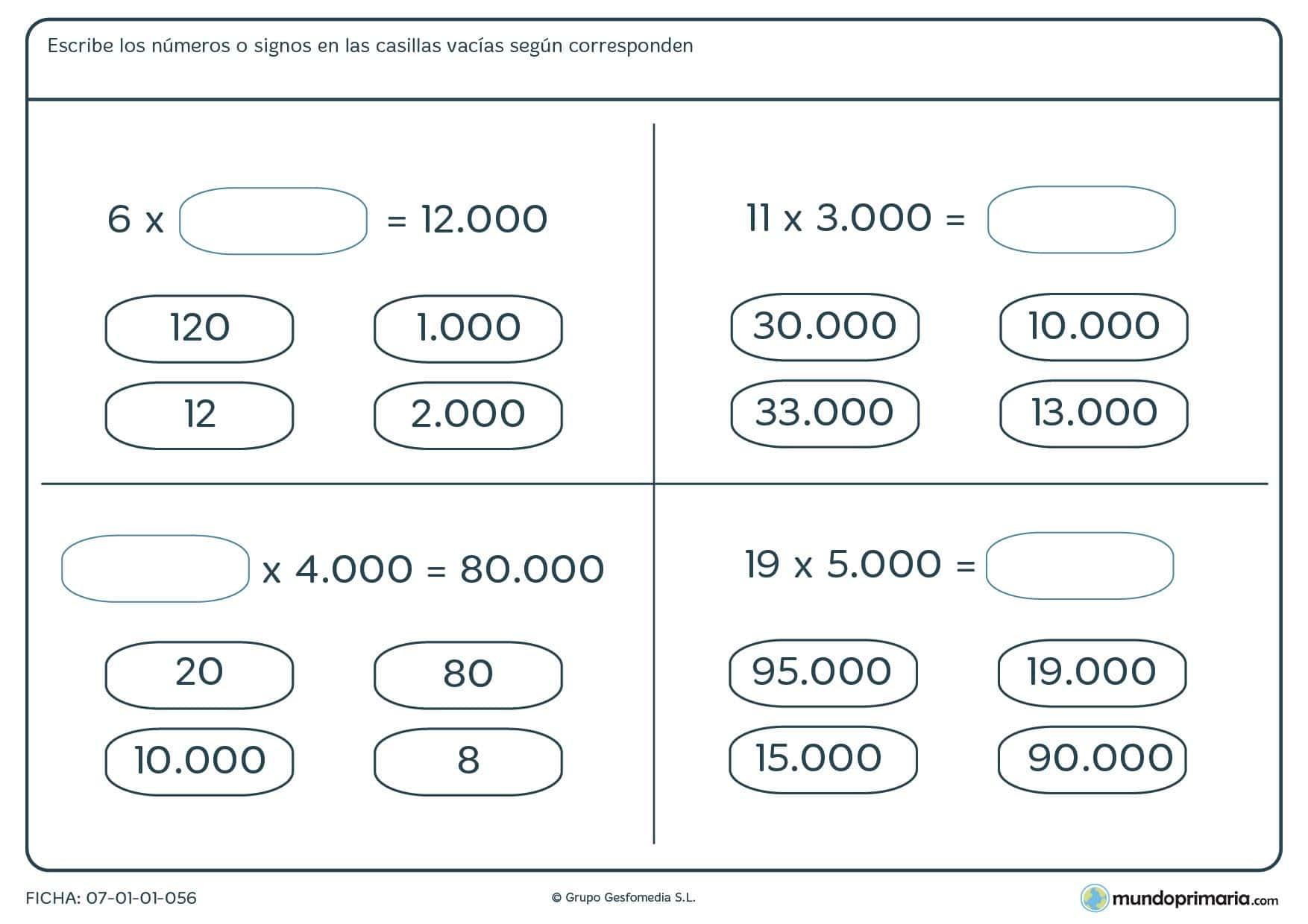 ficha de solucionar multipliacaciones horizontales