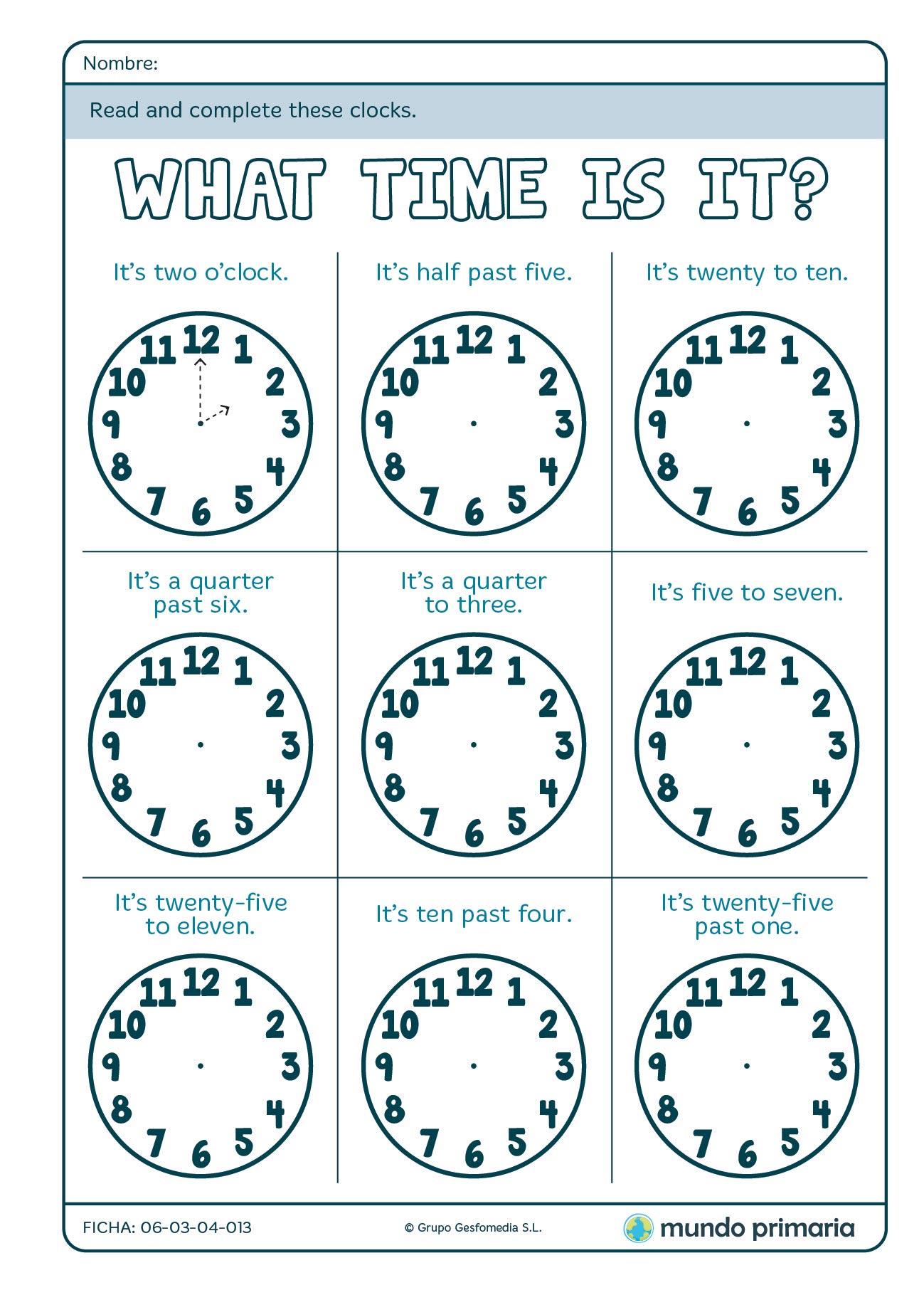 Ficha de dibujar los relojes en inglés para 4º de Primaria