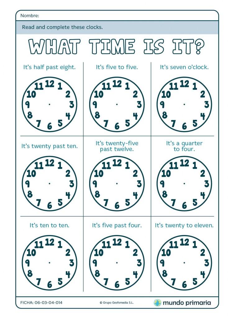 Ficha para completar los relojes de la hora en inglés para Primaria