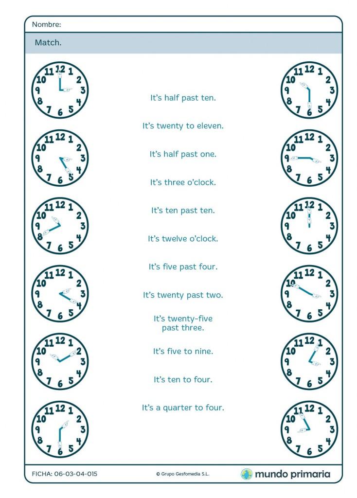 Ficha de unir el reloj con la hora en inglés para Primaria