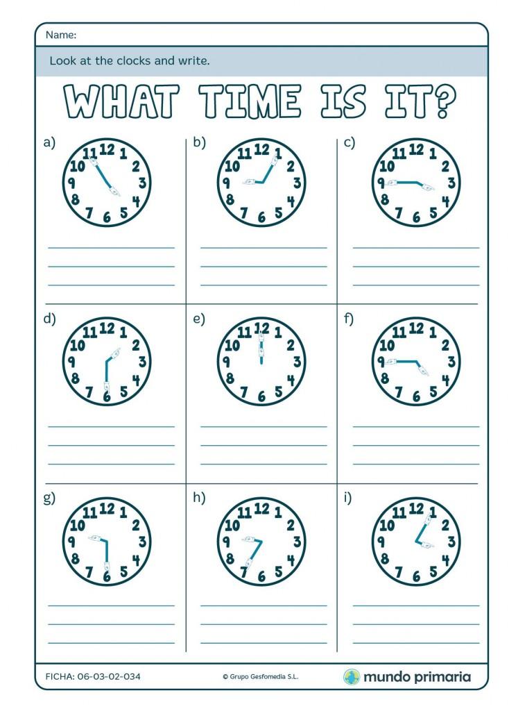 Ficha de escribir la hora en inglés para niños de 4º de Primaria