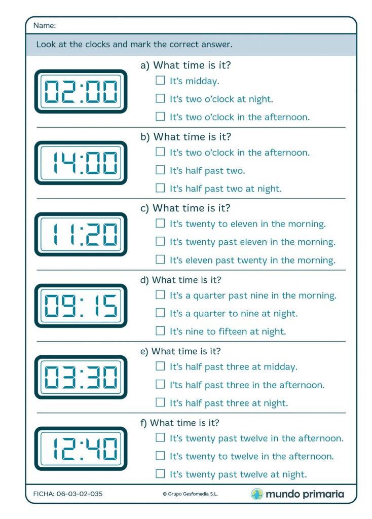 Ficha de relojes digitales en inglés para 4º de Primaria