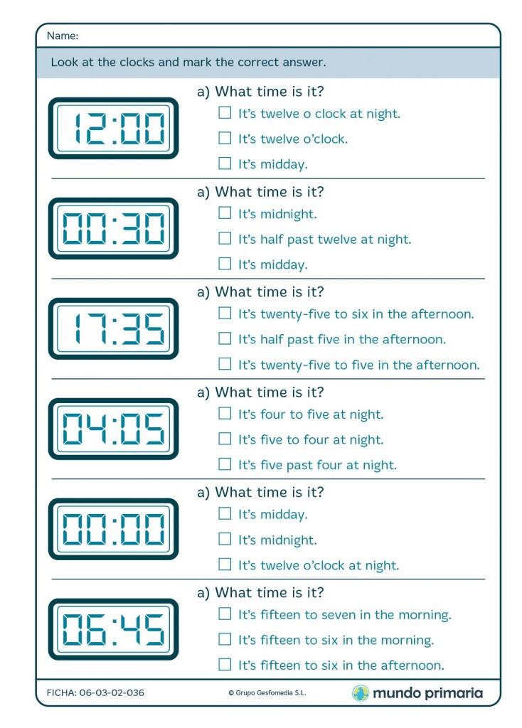 Ficha de leer el reloj digital para 4º de Primaria