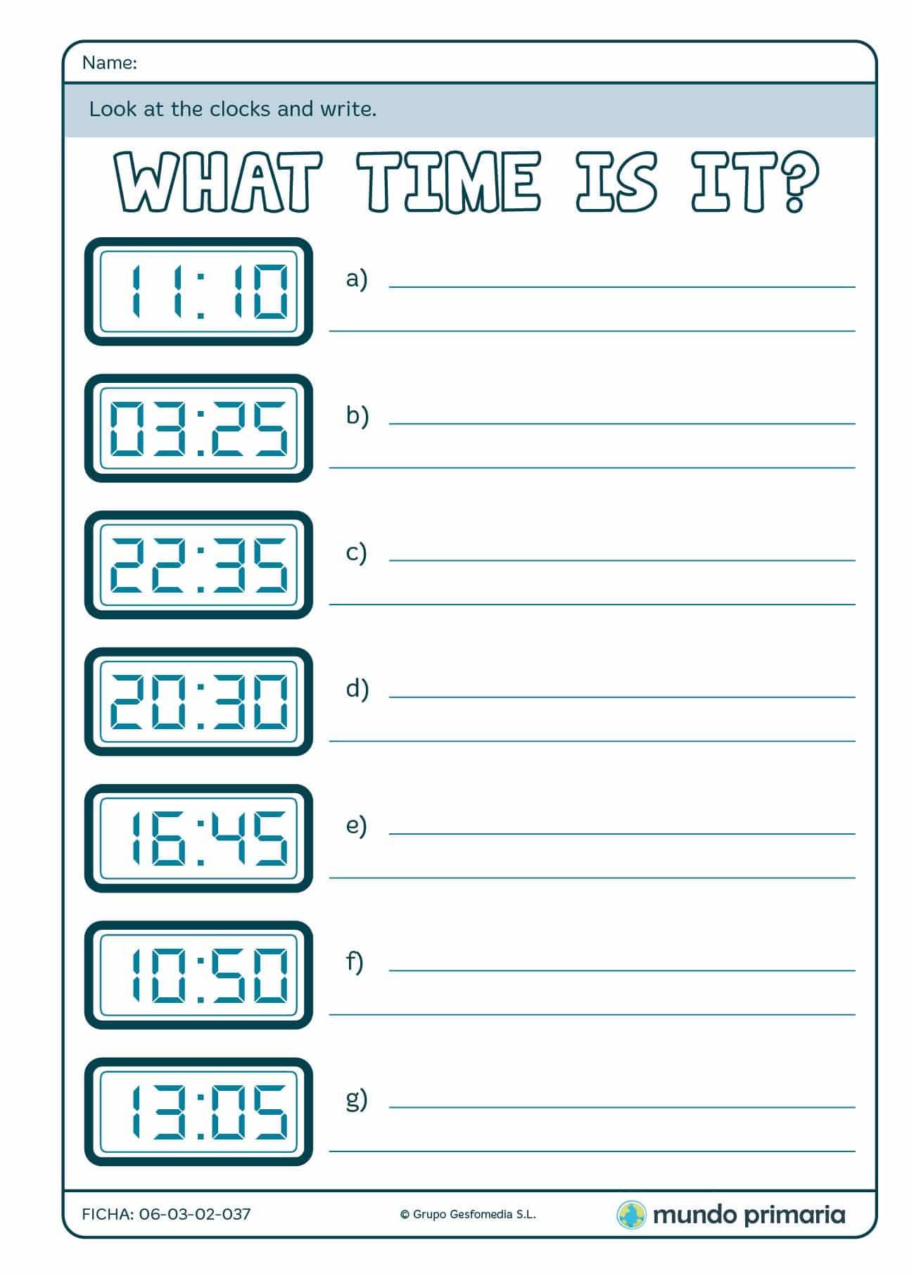 Ficha de escribir en inglés la hora digital en 4º de Primaria