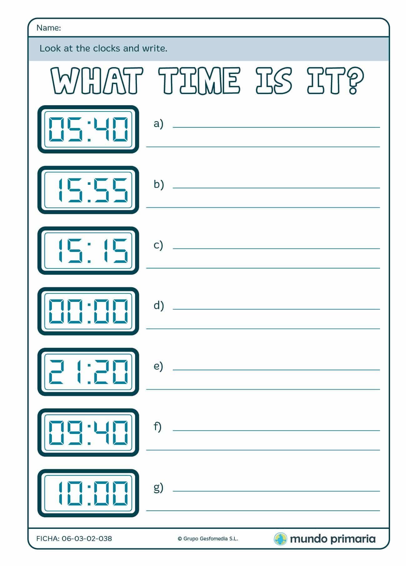 Ficha para aprender horas en inglés con un reloj digital en 4º de P.