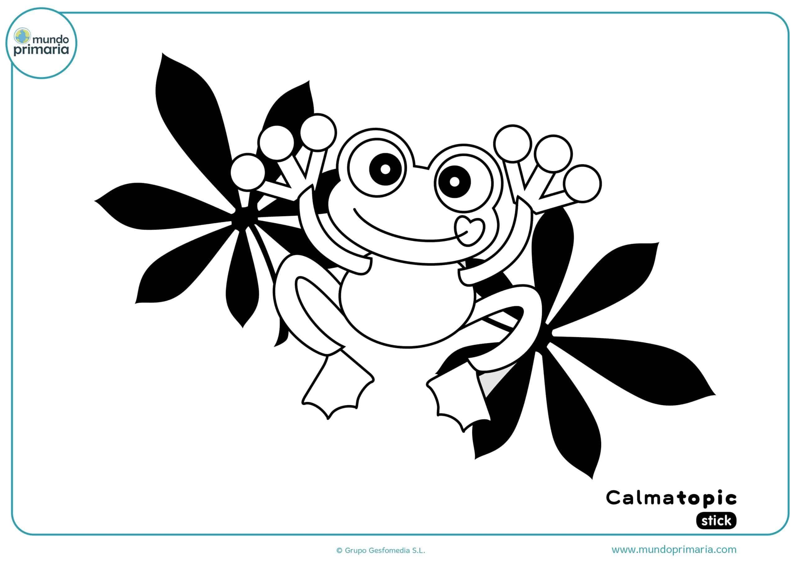 Descárgate la divertida ficha para colorear la ranita de Calmatopic
