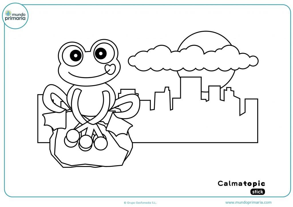 Colorea esta divertida ficha con la rana que nos presenta Calmatopic