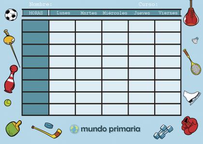 horario con dibujos de deportes para los niños de Primaria