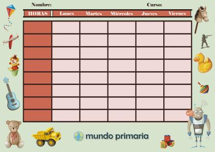 horario de clases con juguetes