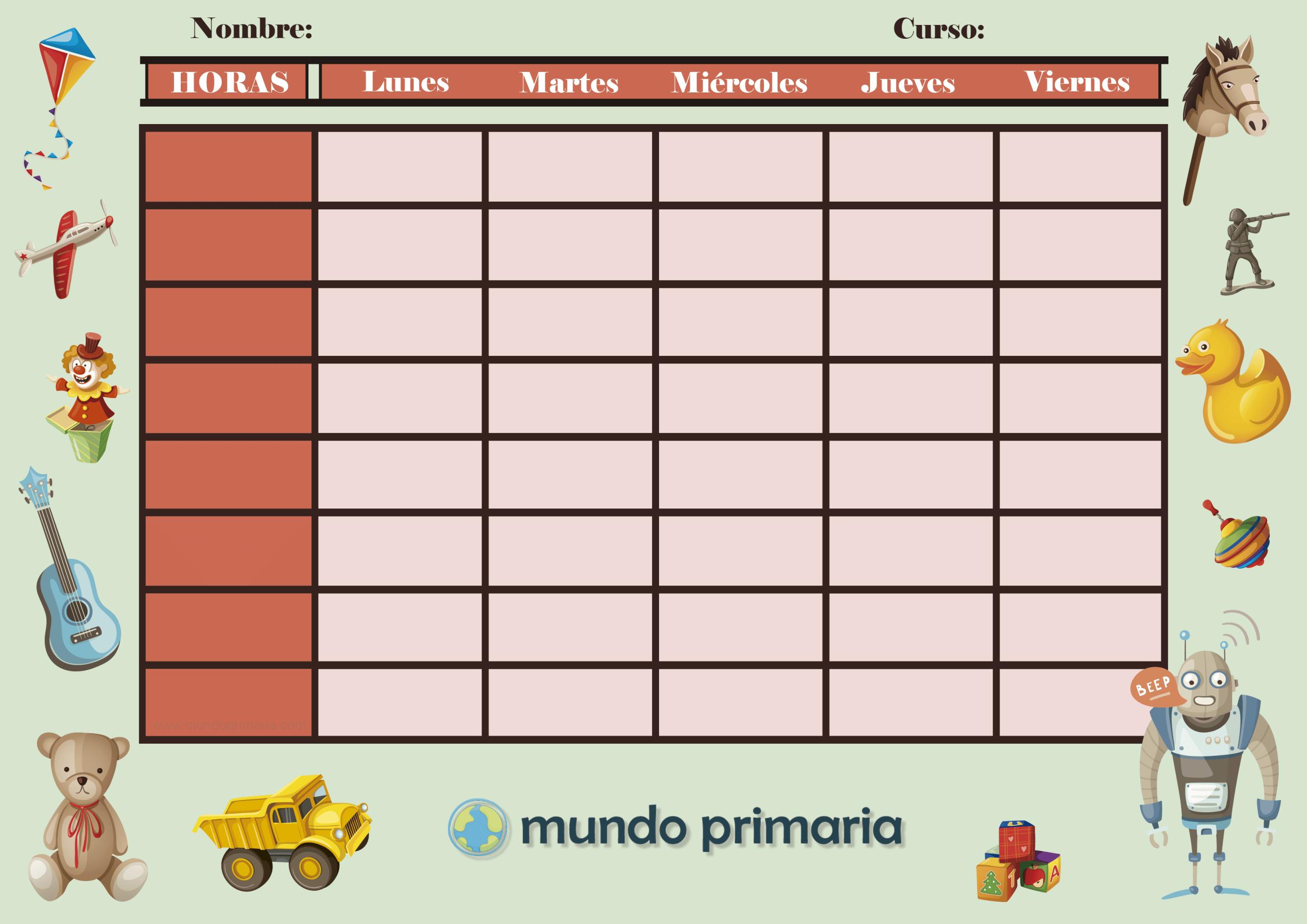 Plantillas horarios escolares infantil