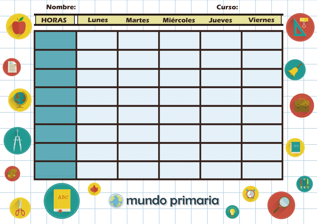 Plantilla de horario escolar para niños de Primaria