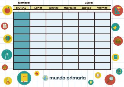 horario escolar para Primaria