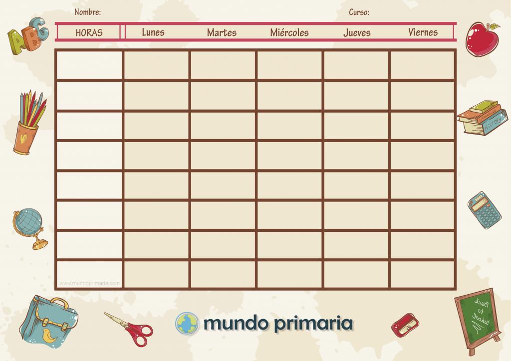 Plantilla para organizar tus clases con un horario