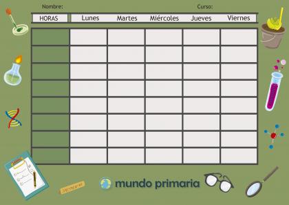 plantilla de horario escolar para organizar las clases de los niños