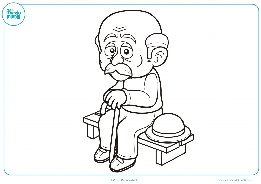Colorea el dibujo del abuelo