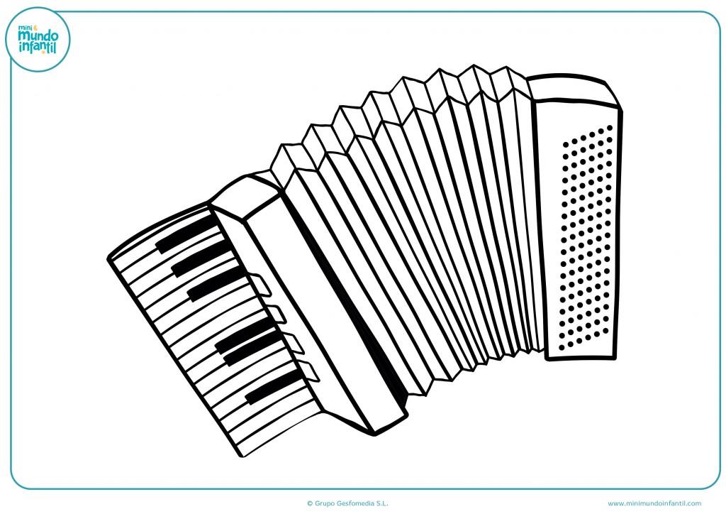 Colorea este dibujo de un acordeón