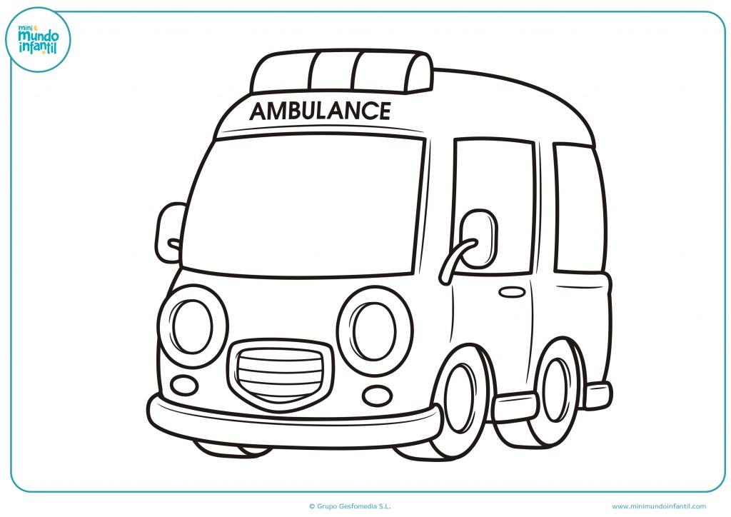 Pinta con colores el dibujo de una ambulancia