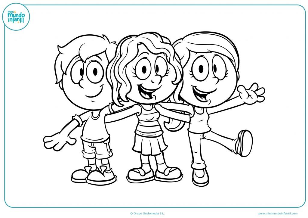 Colorea este dibujo de unos niños