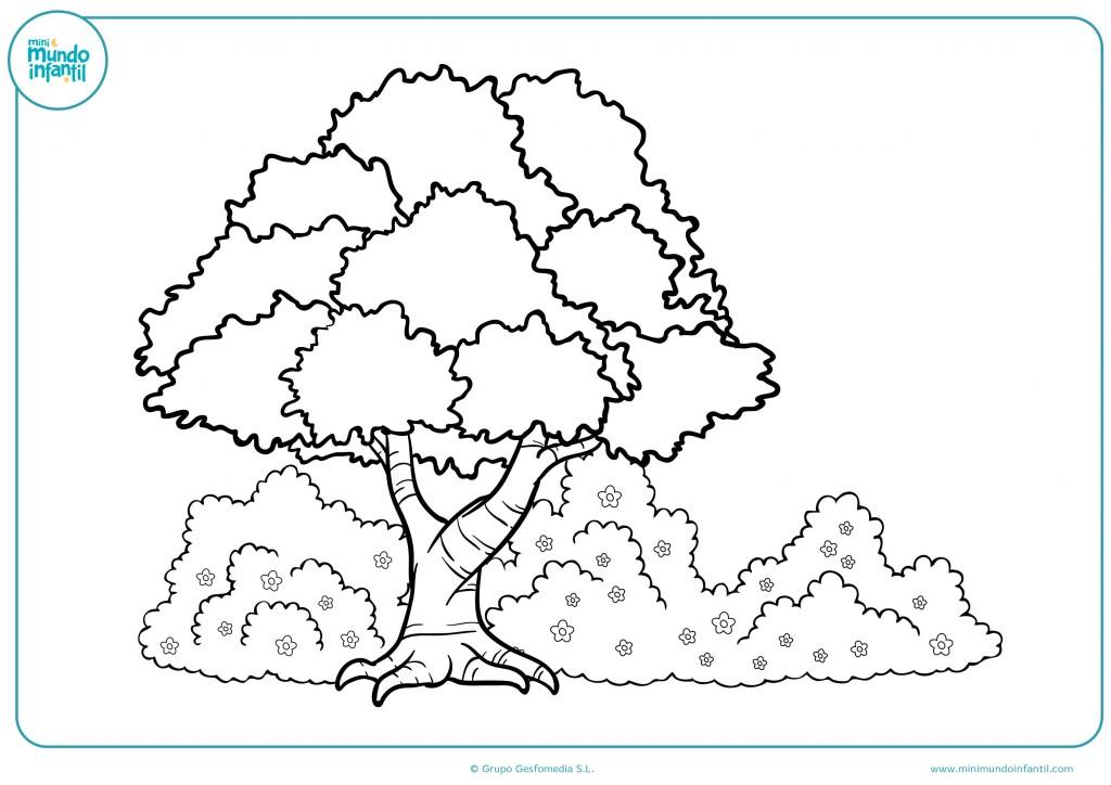 Colorea el dibujo de un árbol y arbustos con flores