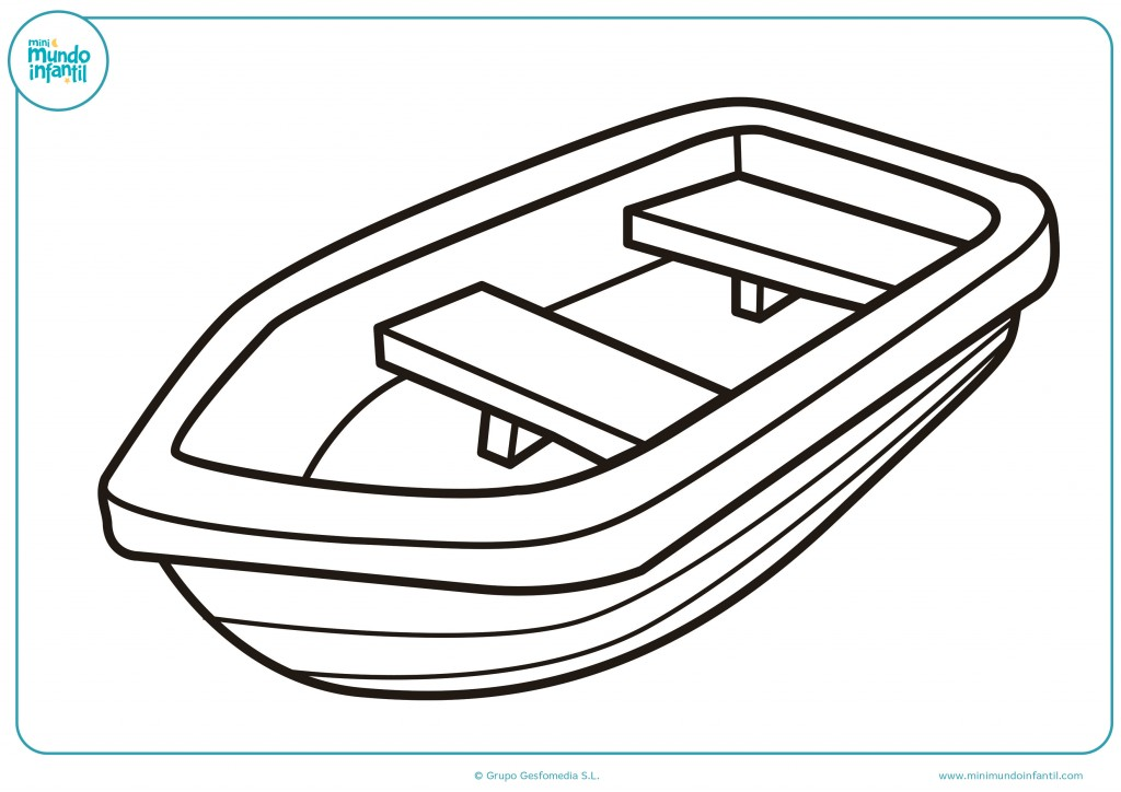Colorea este dibujo de una barca de madera