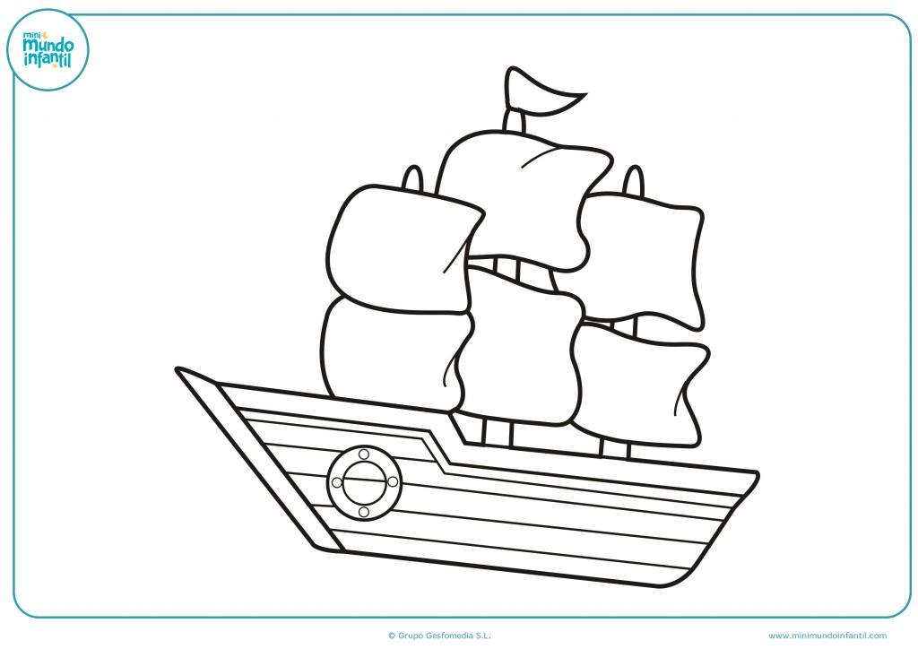 Utiliza los colores para pintar este gran barco con velas