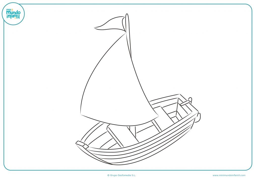 Colorea el dibujo de un barco de juguete con una vela