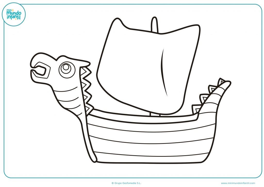 Rellena con colores el dibujo de un barco vikingo