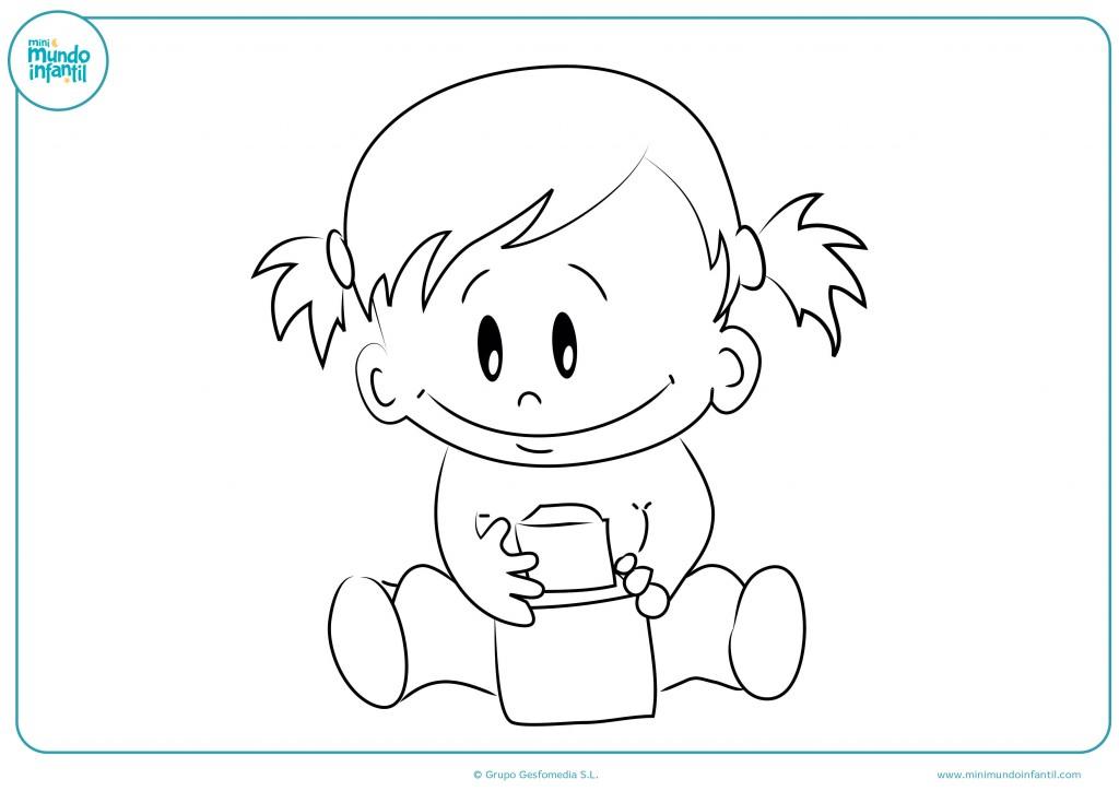 Colorea el dibujo de la bebé con coletas y el juguete