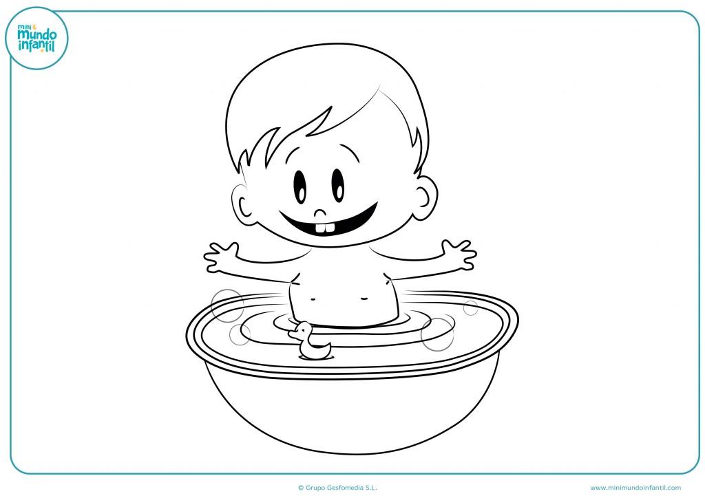 Pinta de colores al bebé de la bañera
