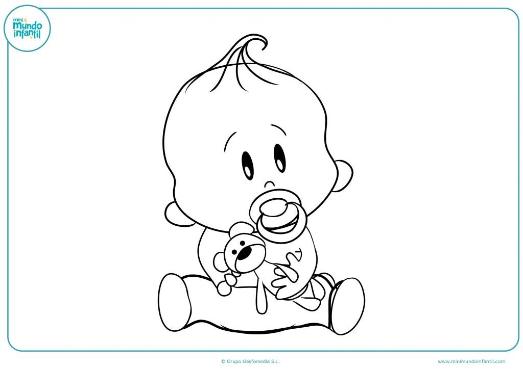 Colorea con pinturas al bebé con su juguete