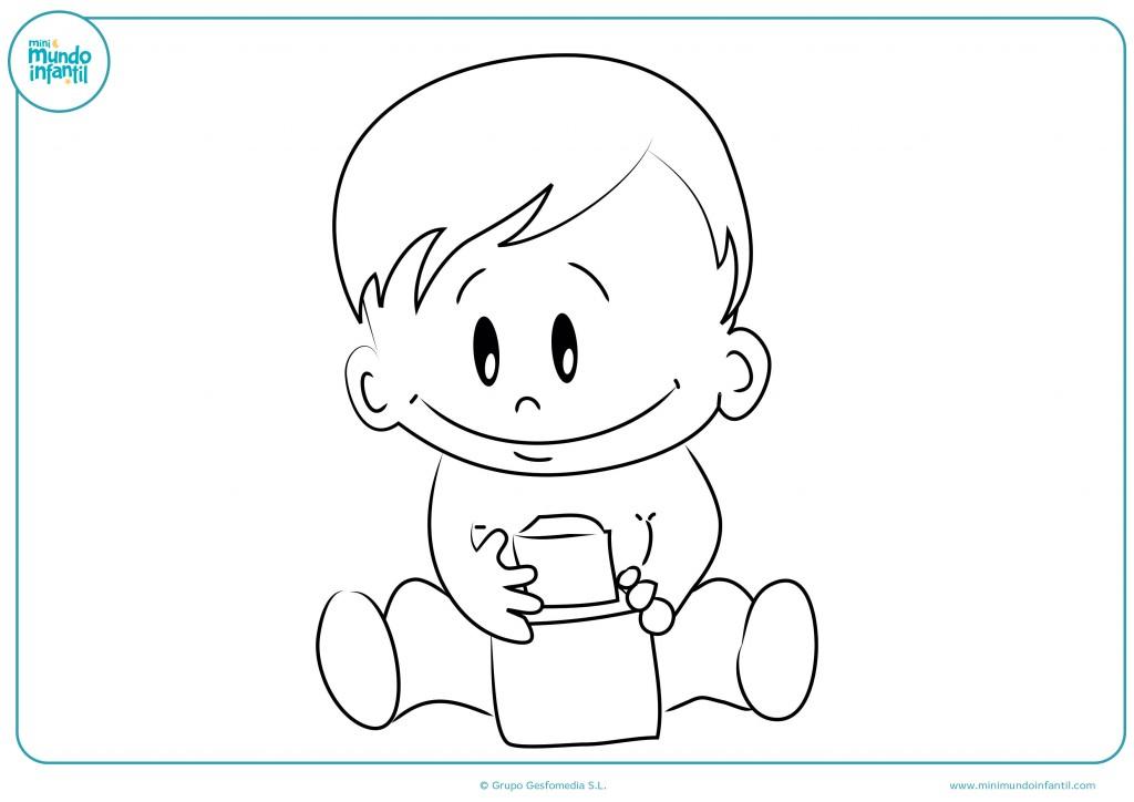 Pinta el bebé sentado con el juguete