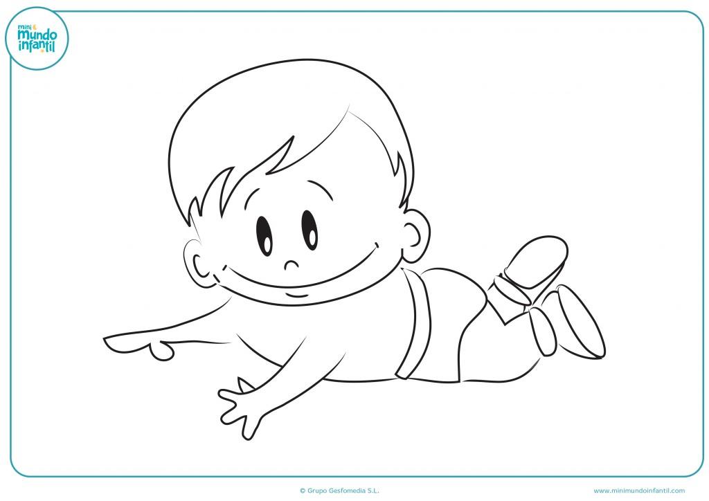 Pinta con rotuladores al bebé tumbado