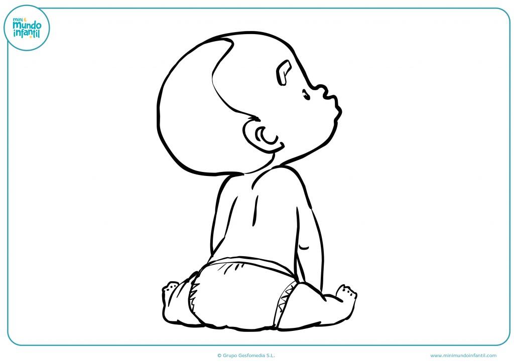 Pinta el dibujo del bebé con pañal