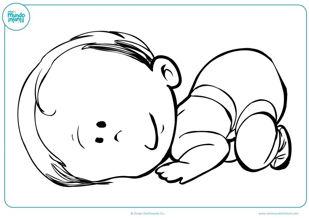 Pinta con colores este dibujo de un bebé encogido