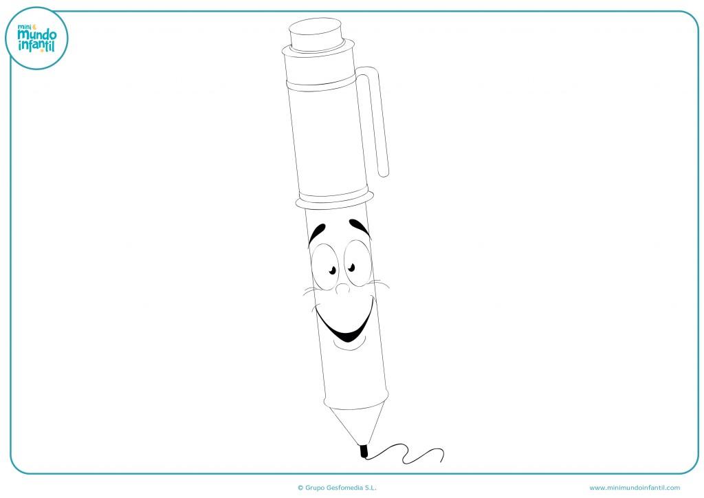 Colorea el dibujo del bolígrafo con cara feliz