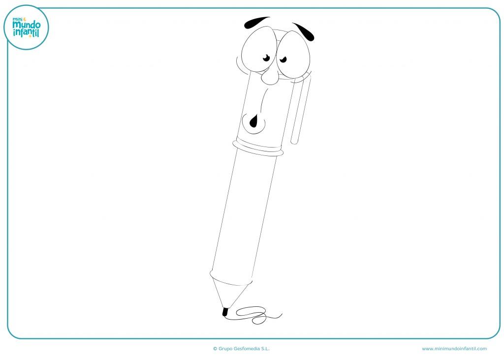 Descarga el dibujo del bolígrafo sorprendido y píntalo