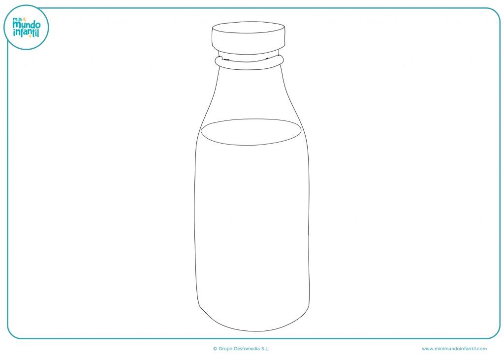 Descarga el dibujo de la botella de leche y píntalo