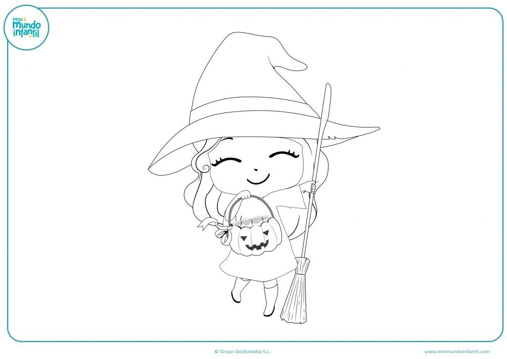 Descarga el dibujo de esta niña disfrazada de bruja en Halloween
