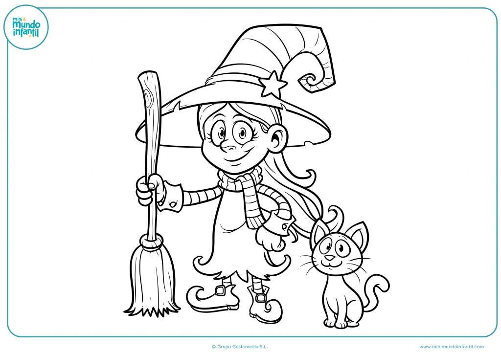 Pinta el dibujo de esta bruja y su gato