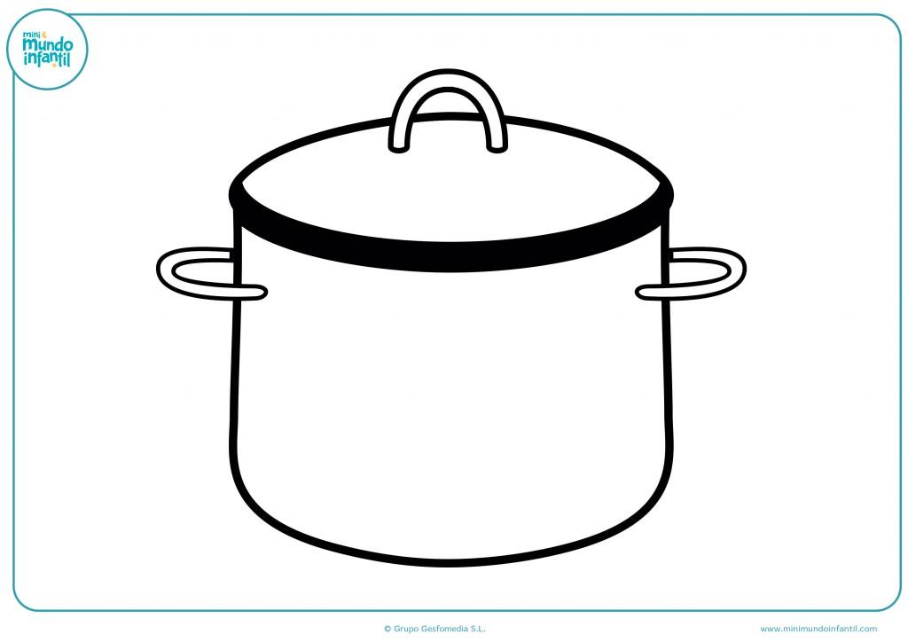 Colorea y decora esta olla para la cocina